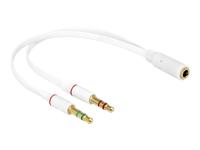 Bild von DELOCK Adapterkabel Klinke Headset 1 x 4 Pin Bu > 2 x 3 Pin St weis (iPhone Belegung)