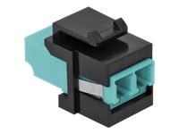 Bild von DELOCK Keystone Modul LC Duplex Buchse zu LC Duplex Buchse aqua/schwarz