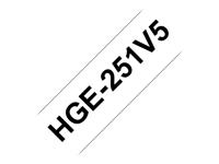 Bild von BROTHER 5x HG251 Schriftbandkassette 24mmx8m weiss schwarz laminiert fuer P-touch P500PC 9700PC 9800PCN RL700S