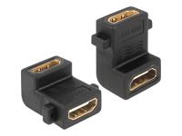 Bild von DELOCK Adapter HDMI-A Buchse > A Buchse 90G gewinkelt mit Schraubanschluss