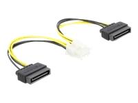 Bild von DELOCK Stromkabel 2 x SATA 15 Pin Stecker zu 8 Pin EPS Stecker 15cm