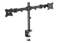 Bild von DIGITUS Dual Display Tisch Halterung mit Klemmbefestigung 2 TFT/LCD bis 69cm 27Zoll schwarz Vesa 75x75mm 100x100mm max 16KG