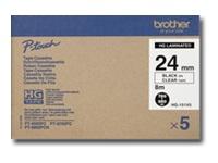 Bild von BROTHER HG151V5 5x Schriftbandkassette 24mmx8m farblos schwarz laminiert fuer P-touch P500PC 9700PC 9800PCN RL700S