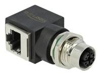 Bild von DELOCK Netzwerkadapter M12 8 Pin X-kodiert Buchse zu RJ45 Buchse
