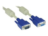 Bild von INLINE S-VGA Verlaengerung 15pol HD Stecker / Buchse beige 0.3m