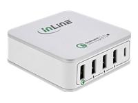 Bild von INLINE Quick Charge 3.0 USB Ladegeraet 4x USB A + USB C 40W weiss