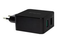 Bild von FANTEC QC3-A21 Quick Charge 3.0 30W fuer Qi-faehige Geraete  Anschluessel: 2x USB, 1x QC3.0 Farbe: schwarz