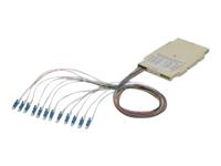 Bild von ASSMANN Spleisskassette mit 12 Pigtails vormontiert LC (UPC) Multimode 50/125 OM3 gefärbte Pigtails LSZH