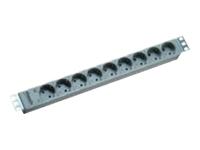 Bild von BACHMANN 48,3cm 19Zoll Steckdosenleiste 9fach ohne E/A Schalter Aluminium 333.401