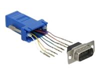 Bild von DELOCK Adapter Sub-D 9 Pin Stecker zu RJ45 Buchse Montagesatz blau