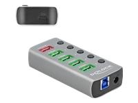 Bild von DELOCK USB 3.2 Gen 1 Hub mit 4 Ports + 1 Schnellladeport + 1 USB-C PD 3.0 Port mit Schalter und Beleuchtung