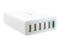 Bild von FANTEC QC3-A61 Quick Charge 3.0 60W fuer Qi-faehige Geraete  Anschluessel: 6x USB 1x USB QC3.0 Farbe: weiss
