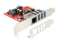 Bild von DELOCK PCI Express Karte > 3 x extern USB 3.0 + 1 x extern Gigabit LAN – Low Profile Formfaktor