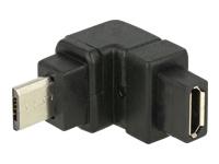 Bild von DELOCK Adapter USB 2.0 Micro-B Stecker > USB 2.0 Micro-B Buchse gewinkelt oben