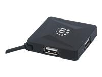 Bild von MANHATTAN 4-Port USB 2.0 Hub Vier USB Typ A-Ports integriertes USB-Kabel mit 60 cm Laenge schwarz