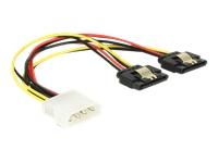 Bild von DELOCK Kabel Power Molex 4 Pin Stecker > 2 x SATA 15 Pin Buchse Metall 20 cm