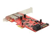 Bild von DELOCK PCI Express Karte > 2 x extern USB 3.0 + 2 x intern SATA 6 Gb/s – Low Profile Form Faktor