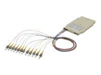 Bild von ASSMANN Spleisskassette mit 12 Pigtails vormontiert ST (UPC) Multimode 50/125 OM3 gefärbte Pigtails LSZH