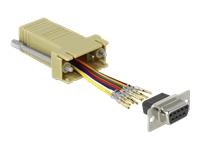 Bild von DELOCK Adapter Sub-D 9 Pin Buchse zu RJ45 Buchse Montagesatz grau