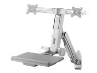 Bild von ICY BOX IB-MS600-W2 Wandhalterung fuer zwei Montiore bis zu61cm 24Zoll Tastatur-/Mausablage Sitz-Steh-Arbeitsplatz