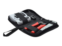 Bild von DIGITUS Netzwerk Werkzeugset Netzwerktester,Crimpzange, Schneid + Abisolierwerkzeug, LSA Auflegewerkzeug,Tragetasche