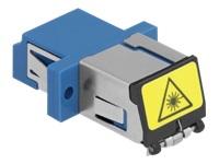 Bild von DELOCK LWL Kupplung mit Laserschutzklappe LC Duplex Buchse zu LC Duplex Buchse Singlemode blau