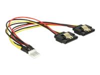 Bild von DELOCK Kabel Power Floppy 4 Pin Stecker > 2 x SATA 15 Pin Buchse Metall 20 cm