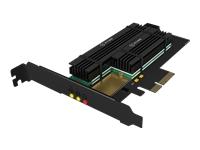 Bild von ICY BOX PCIe-Karte fuer 2x M.2 SSDs IB-PCI215M2-HSL unterstuetzt 1x M.2 M-Key und 1x M.2 B-Key 22 x 30/42/60/80/110 mm inkl. Kuehler