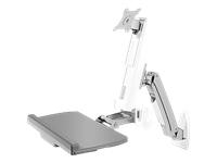 Bild von ICY BOX IB-MS6003-W Wandhalterung fuer einen Monitor bis zu 61cm 24Zoll Tastatur-/ Mausablage Sitz-Stehe Sit-Stand Arbeitsplatz