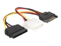 Bild von DELOCK Adapter Power SATA 15pin>4pin+SATA 15pin