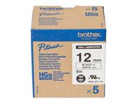 Bild von BROTHER HGE231V5 5x Schriftbandkassette 12mmx8m weiss schwarz laminiert fuer P-touch P500PC 9700PC 9800PCN RL700S