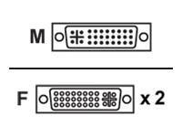 Bild von ASSMANN DVI Y-Verteilerkabel DVI(24+5) - 2x DVI(24+5) St/Bu 0,2m DVI-I Dual Link passiv gold sw