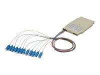 Bild von ASSMANN Spleisskassette mit 12 Pigtails vormontiert SC (UPC) Singlemode 9/125 gefärbte Pigtails LSZH