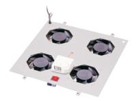 Bild von DIGITUS Dachluefter fuer Netzwerkschraenke 4 Luefter grau RAL7035 inkl. Thermostat und Schalter