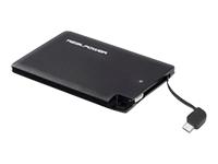 Bild von REALPOWER PB2500 slim externes Ladegeraet m. lightning und mico USB Kabel nur 5 mm dick