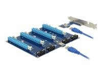 Bild von DELOCK Riser Karte PCI Express x1 > 4 x PCIe x16 mit 60 cm USB Kabel