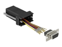 Bild von DELOCK Adapter Sub-D 9 Pin Buchse zu RJ45 Buchse Montagesatz schwarz