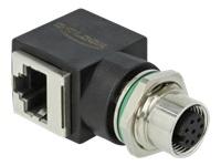Bild von DELOCK Netzwerkadapter M12 8 Pin A-kodiert Buchse zu RJ45 Buchse