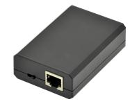 Bild von DIGITUS Gigabit PoE af Splitter10/100/1000Mbps 12W Eingang 802,3af Ausgang 5V/2A 9V/1,5A 12V/1A Kunststoff-Gehäuse schwarz