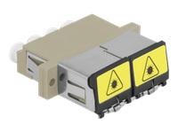 Bild von DELOCK LWL Kupplung mit Laserschutzklappe LC Quad Buchse zu LC Quad Buchse Multimode beige