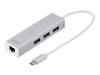 Bild von DIGITUS 3 Port USB 3.0 Typ C Hub mit Gigabit Ethernet 3xUSB A/F,1xUSB A/M,1xRJ45 LAN Unterstützt Windows und Mac OS