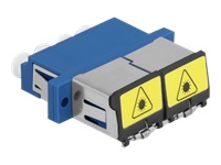 Bild von DELOCK LWL Kupplung mit Laserschutzklappe LC Quad Buchse zu LC Quad Buchse Singlemode blau