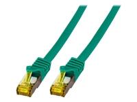 Bild von EFB Patchkabel Cat6a S/FTP LSZH mit Cat7 Rohkabel 0,25m GRUEN 10 Gigabit Ethernet 600MHz 4x2xAWG26/7 Flammwidrig Raucharm