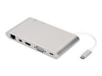 Bild von DIGITUS Universal Docking Station USB 3.1 Type C 4K HDMI MiniDP VGA 1x USB 3.1 C PD 3x USB3.0 RJ45 MicroSD SD/MMC aluminum silver