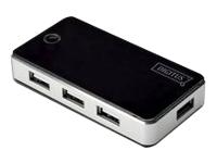 Bild von DIGITUS USB2.0 Hub 7-port 7xUSB A Buchse 1xUSB B mini Buchse inkl. Netzteil 5V DC 3,5A und USB Kabel schwarz