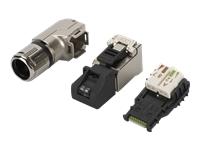 Bild von ASSMANN RJ45 Stecker fur Feldkonfektionierung T568A alle Netzwerke voice bis 10Gigabit Ethernet 90 gewinkelt 1 VPE 10 Stk.
