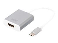 Bild von DIGITUS Grafik Adapter USB3.0 Typ C 4K HDMI Aluminium Gehäuse 20cm Kabel Chipset CSL-C-001 weiss