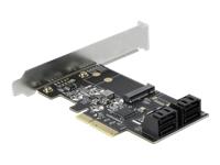 Bild von DELOCK 4 Port SATA und 1 Slot M.2 Key B PCI Express x4 Karte - Low Profile Formfaktor