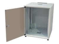 Bild von EFB 19Zoll Netzwerkschrank OFFICE SERIE 12HE 600X600 RAL7035 Grau IP20 komplett vormontiert und zerlegbar Glasfront 30KG Traglast