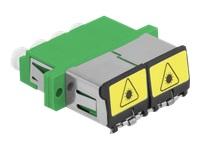 Bild von DELOCK LWL Kupplung mit Laserschutzklappe LC Quad Buchse zu LC Quad Buchse Singlemode grün